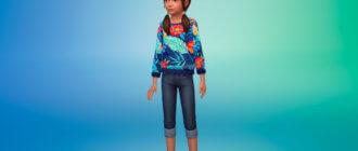 Свитшот с принтом для девочек для Симс 4 - фото 1