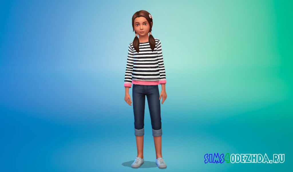 Свитшот с принтом для девочек для Симс 4 - фото 2