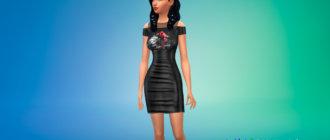 Черное готическое платье с принтом для Симс 4 - фото 1