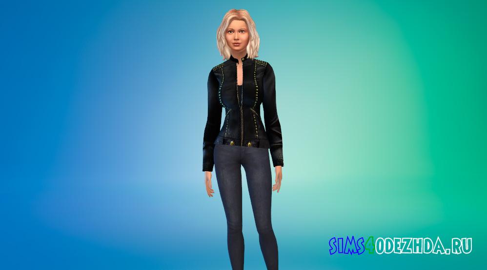 Дизайнерская кожаная куртка для Симс 4 - фото 1