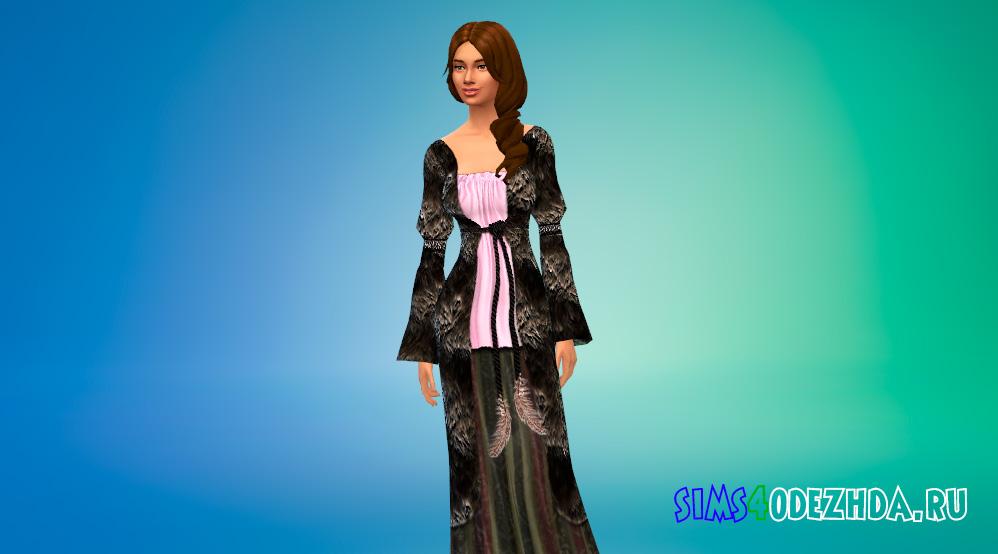 Длинное средневековое платье для Симс 4 - фото 1