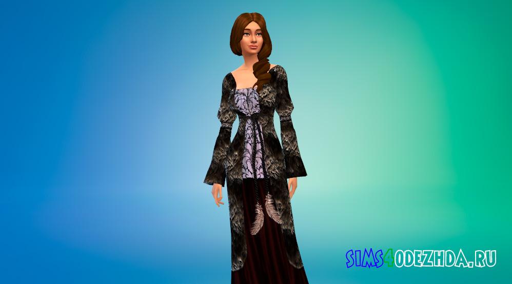 Длинное средневековое платье для Симс 4 - фото 2