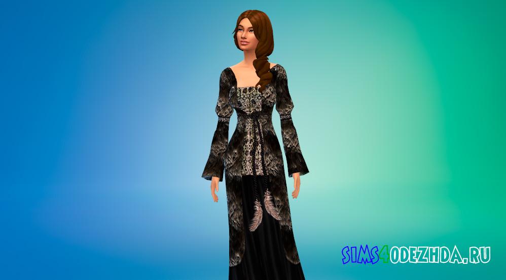 Длинное средневековое платье для Симс 4 - фото 3