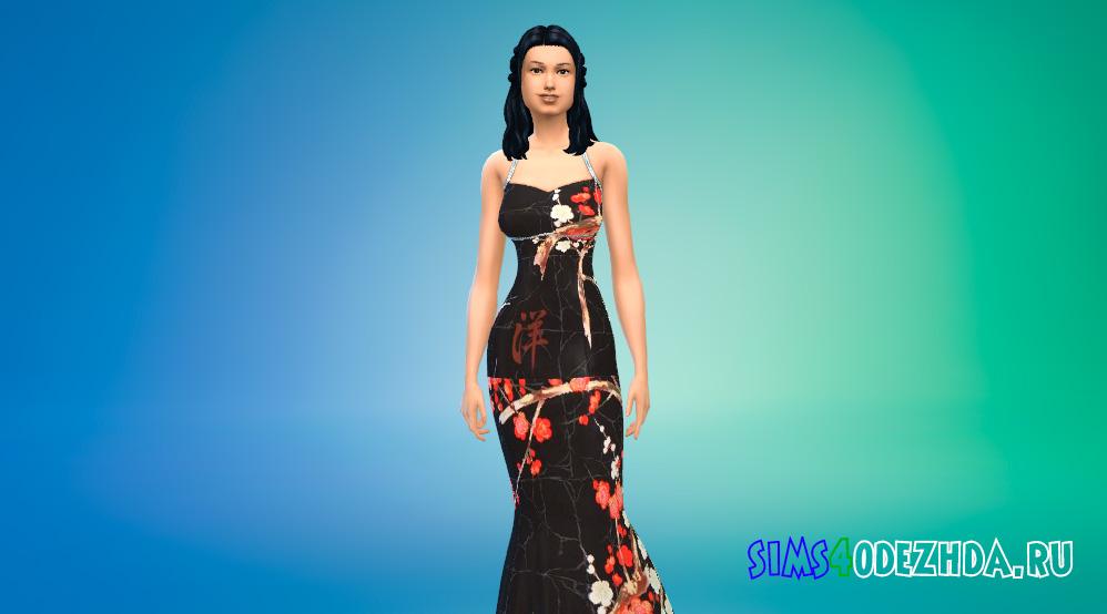 Формальное платье с восточным принтом для Симс 4 - фото 1