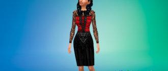 Готическое платье с кружевными рукавами для Симс 4 - фото 1