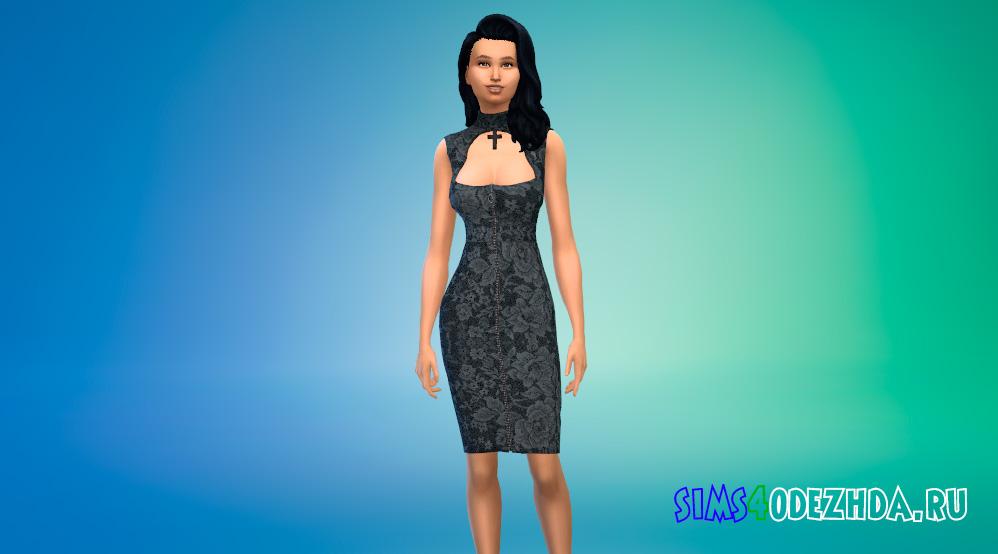Готическое платье миди для Симс 4 - фото 1