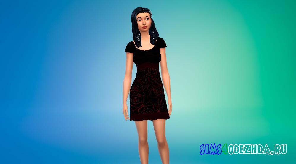 Готическое платье с красным рисунком для Симс 4 - фото 1