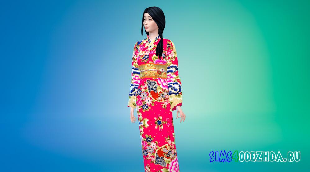 Японское цветочное кимоно для Симс 4 - фото 1
