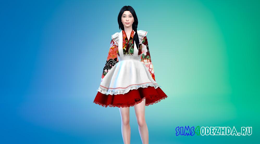 Японское кимоно горничной для Симс 4 - фото 1