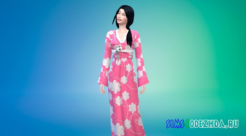 Японское стильное кимоно для Симс 4 - фото 1