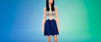 Экстравагантное синее платье для Симс 4 - фото 1