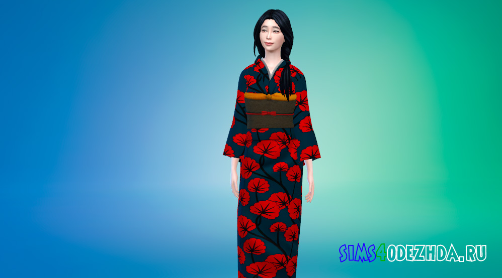 Кимоно для женщин для Симс 4 - фото 1