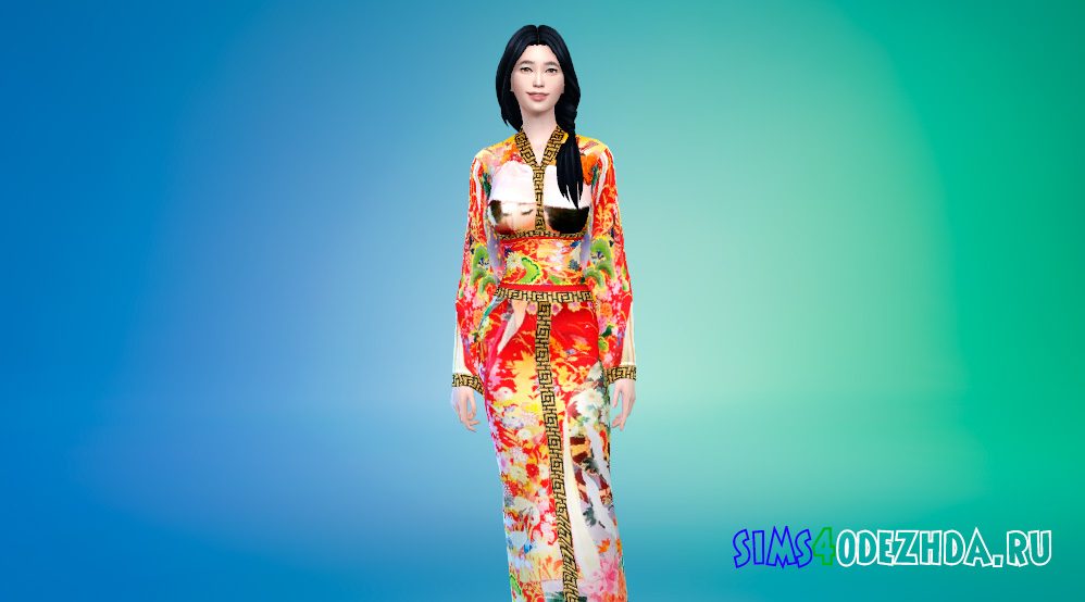 Кимоно с яркими принтами для Симс 4 - фото 1
