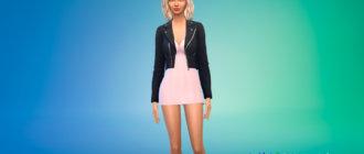 Короткое платье с кожаной курткой для Симс 4 - фото 1