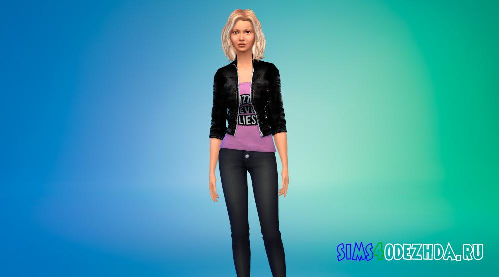 Кожаная куртка рокерши для Симс 4 - фото 1