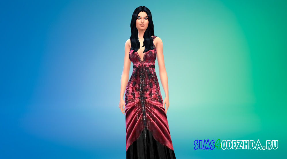 Красивое платье с экстравагантными рюшами для Симс 4 - фото 1