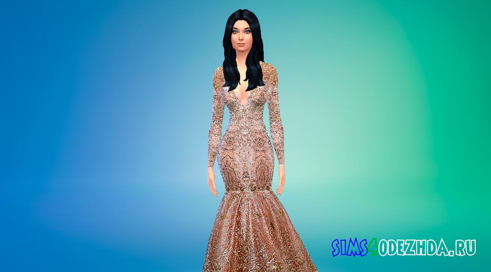 Красивое золотое платье для вашей королевы Симс 4 - фото 1