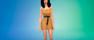 Мини-платье с поясом спереди для Симс 4 - фото 1