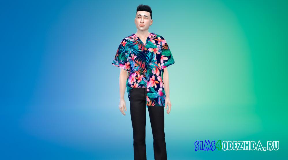 Мужская рубашка с яркими принтами для Симс 4 - фото 1