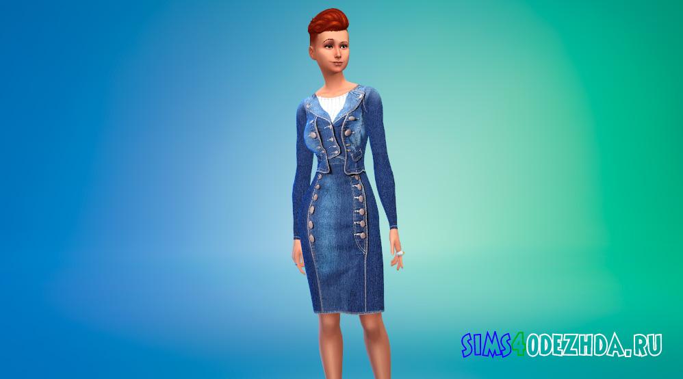 Наряд из джинсовки и юбки для Симс 4 - фото 1