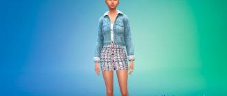 Наряд из джинсовой куртки и юбки для Симс 4 - фото 1