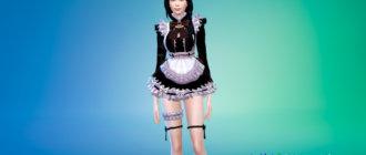 Платье горничной в аниме стилистике для Симс 4 - фото 1