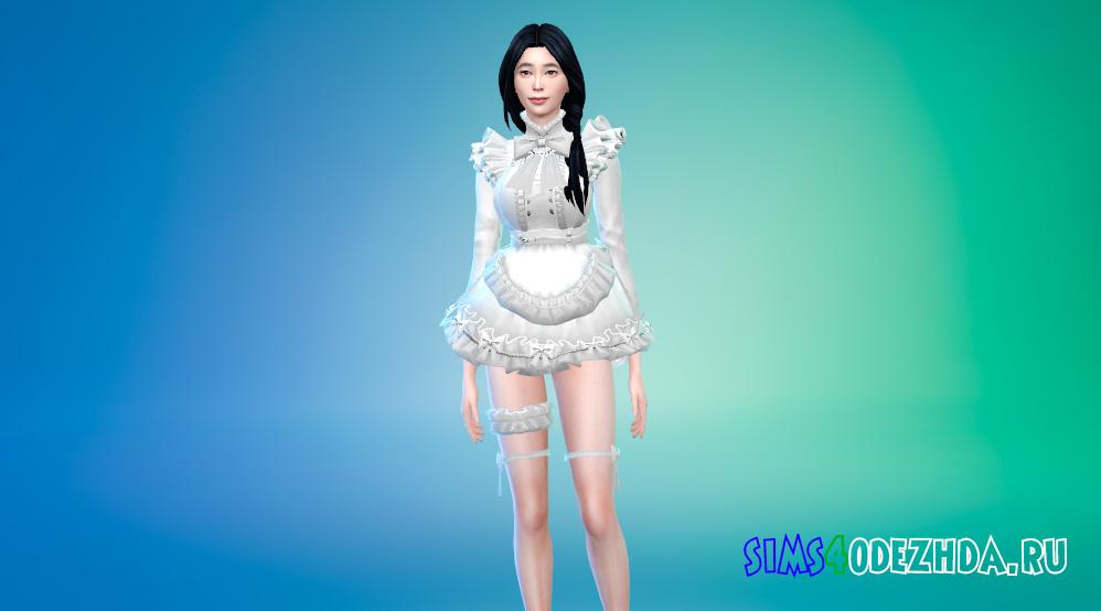 Платье горничной в аниме стилистике для Симс 4 - фото 3