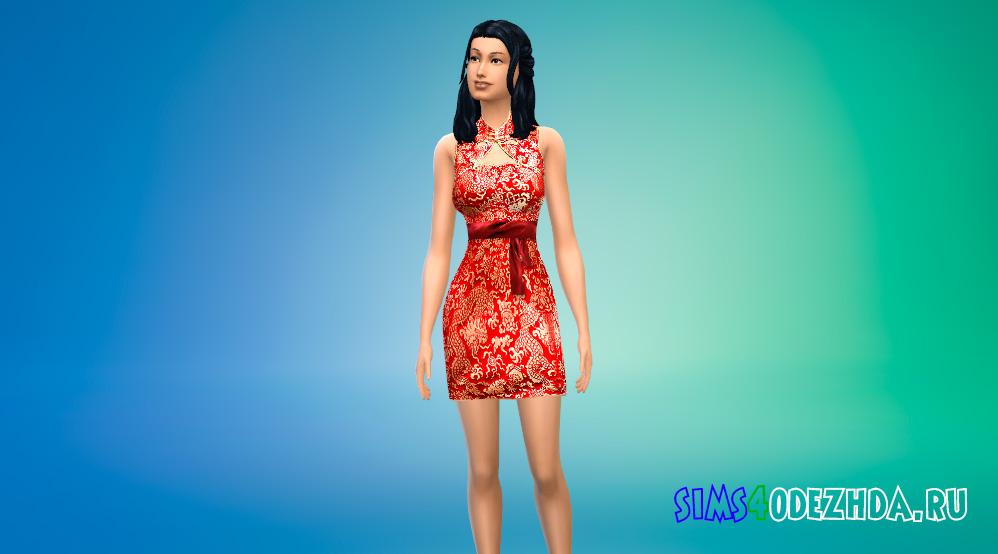Платье квипао для Симс 4 - фото 1