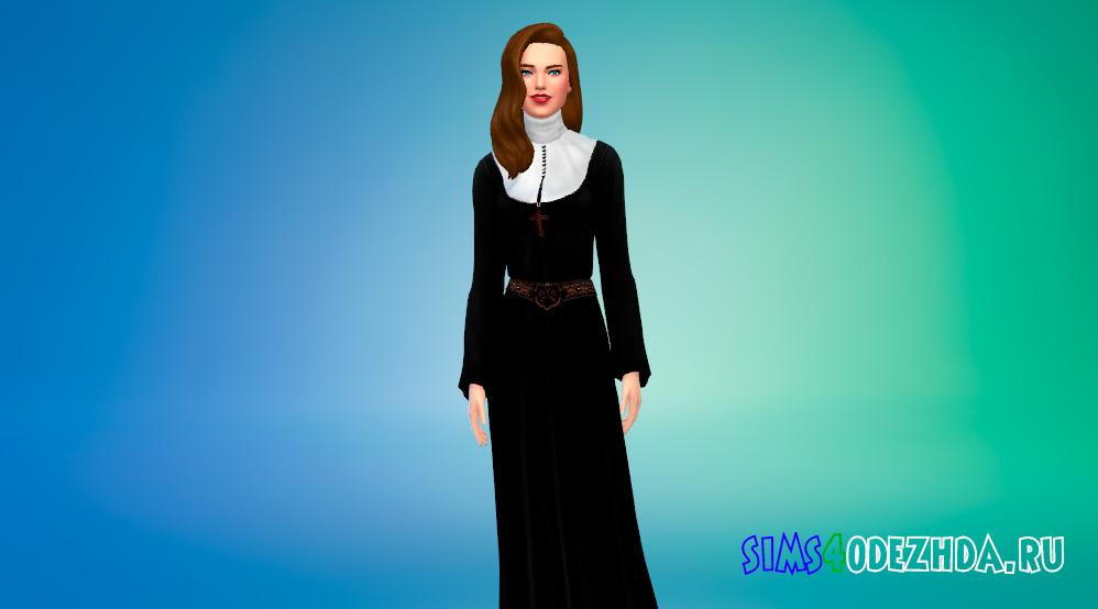 Платье монахини для Симс 4 - фото 1