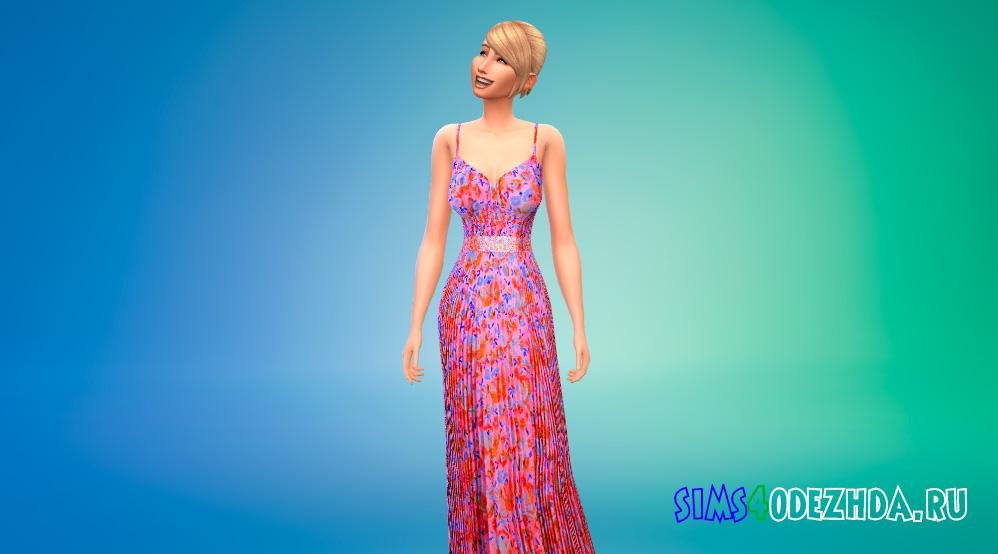 Платье принцессы с цветочным рисунком для Симс 4 - фото 1