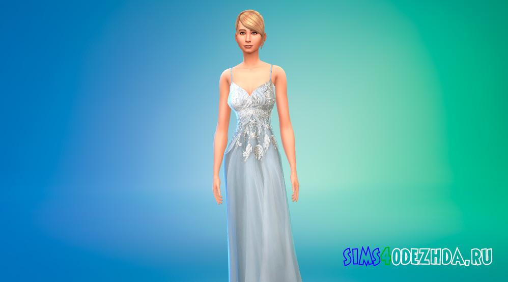 Платье принцессы с открытыми плечами для Симс 4 - фото 1