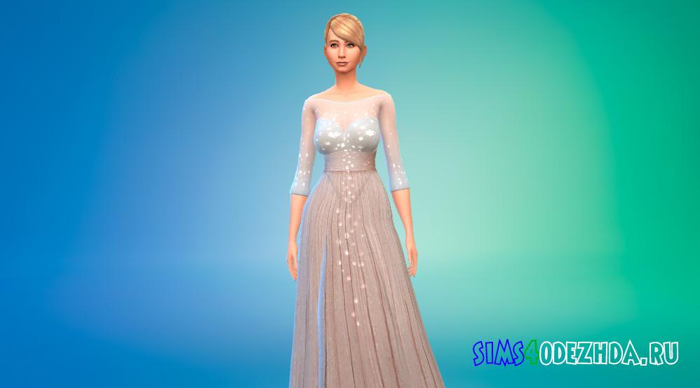 Платье принцессы с прозрачным верхом для Симс 4 - фото 1