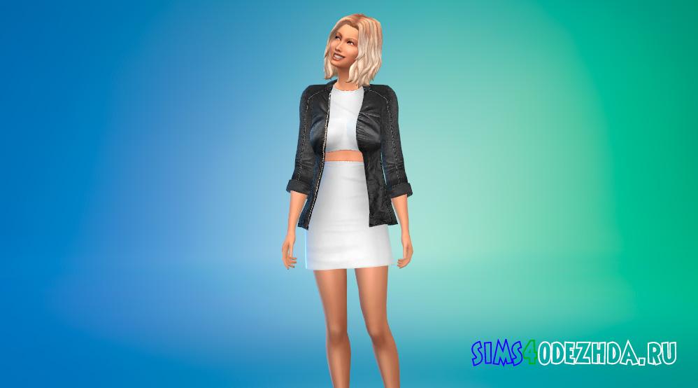Платье с кожаной курткой для Симс 4 - фото 1