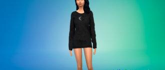 Платье-свитер в готическом стиле для Симс 4 - фото 1