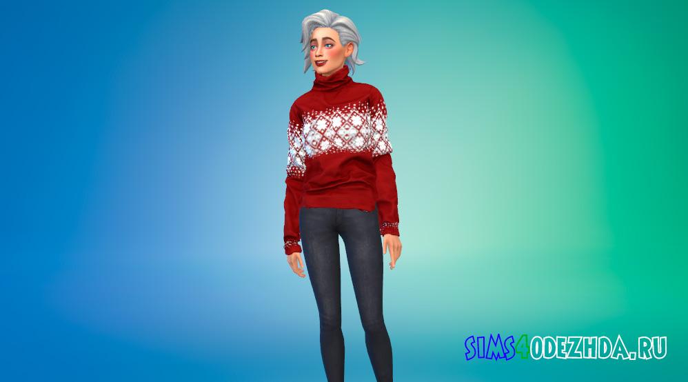 Рождественский свитер для девушек для Симс 4 - фото 1