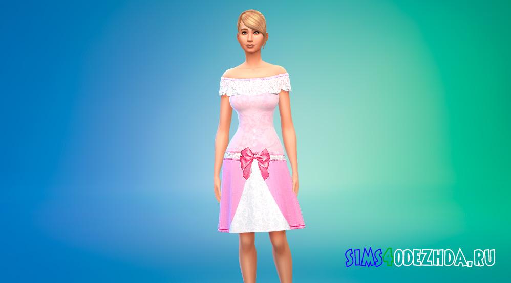 Розовое платье принцессы с цветочным рисунком для Симс 4 - фото 1