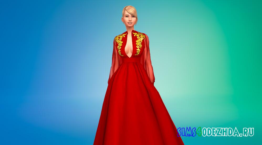 Шикарное платье принцессы с глубоким декольте для Симс 4 - фото 1