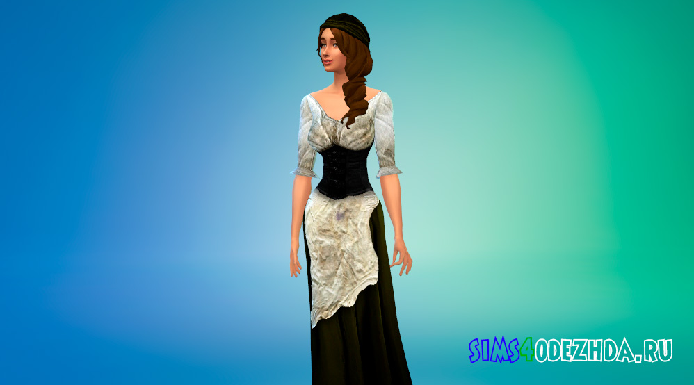 Средневековое крестьянское платье для Симс 4 - фото 1