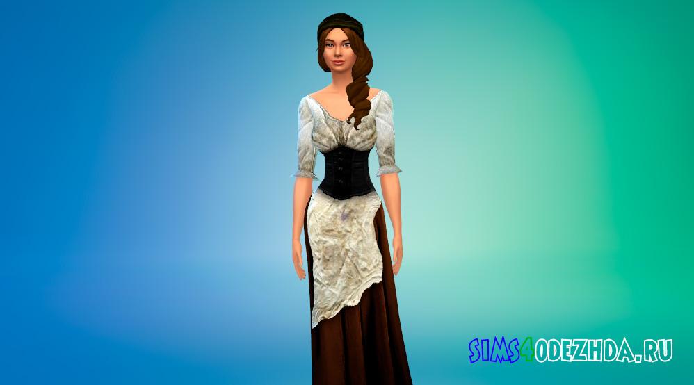 Средневековое крестьянское платье для Симс 4 - фото 2