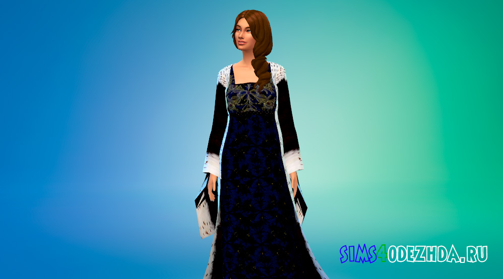 Средневековое платье для королевских особ для Симс 4 - фото 2