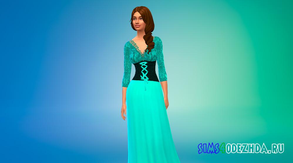 Средневековое платье с длинными рукавами для Симс 4 - фото 1