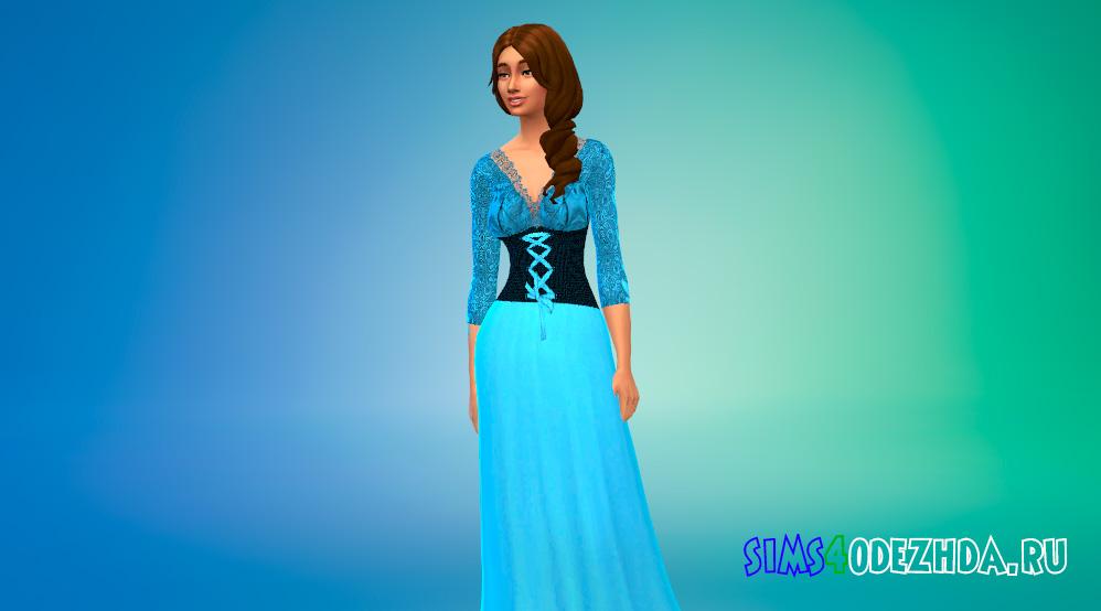 Средневековое платье с длинными рукавами для Симс 4 - фото 2