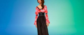 Средневековое платье с корсетом для Симс 4 - фото 1