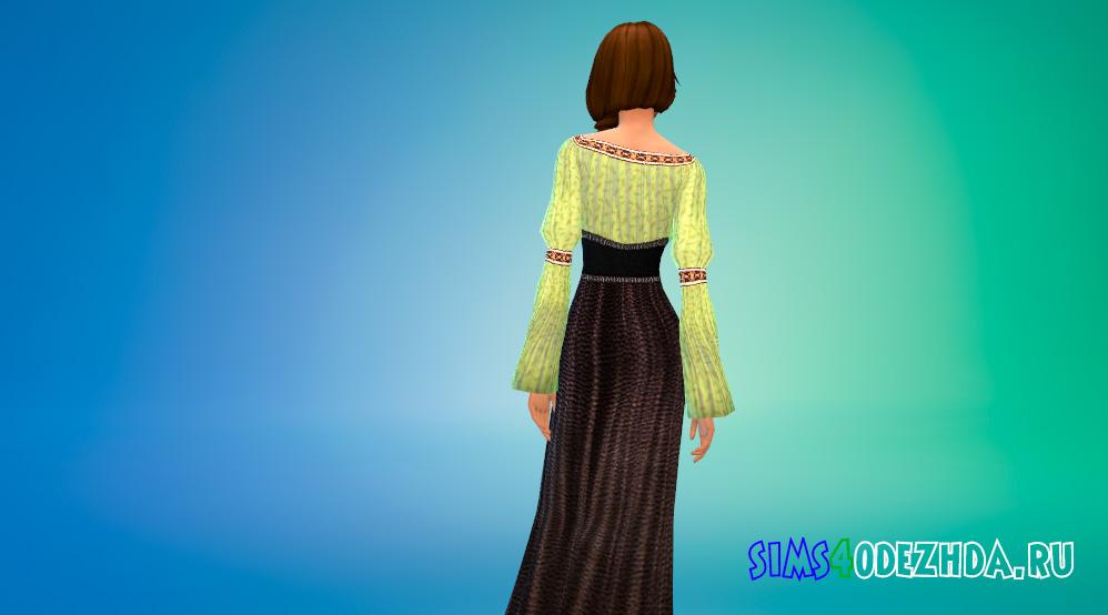 Средневековое платье с корсетом для Симс 4 - фото 3