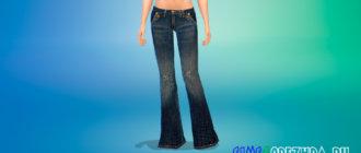 Стильные расклешенные джинсы для Симс 4 - фото 1