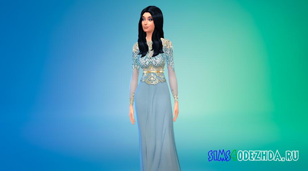 Светло-синее королевское платье для Симс 4 - фото 1