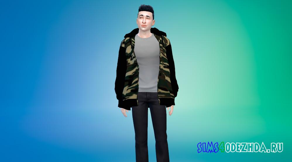 Свободная куртка с капюшоном для Симс 4 - фото 1