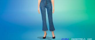 Укороченные джинсы клеш для Симс 4 - фото 1