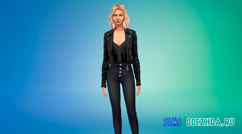 Женская байкерская куртка для Симс 4 - фото 1