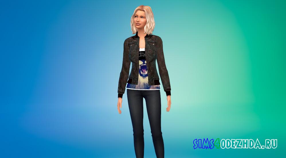 Женская кожаная куртка с футболкой для Симс 4 - фото 1